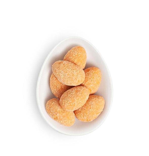 Dish of sugar-coated candy almonds