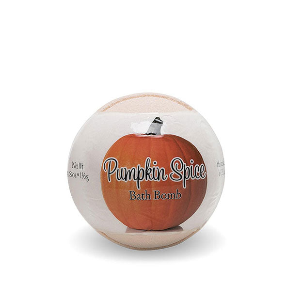 Spherical Pumpkin Spice Bath Bomb in wrapping