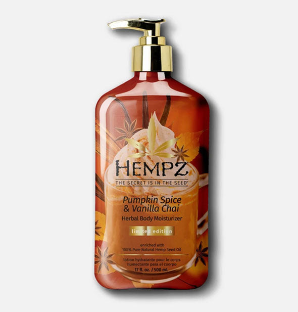 A 17-ounce bottle of Hempz Pumpkin Spice & Vanilla Chai Herbal Body Moisturizer with autumnal design in shades of brown and shiny gold-toned pump nozzle.