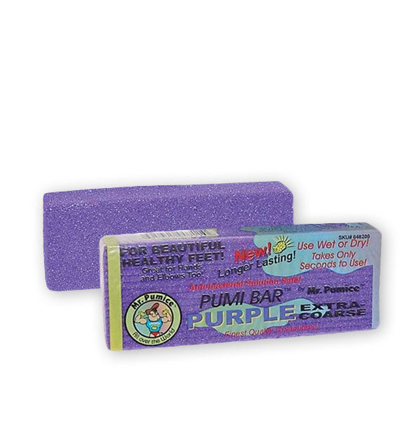 Two Mr. Pumice Pumi Bar Purple, one in wrapper and one out of wrapper