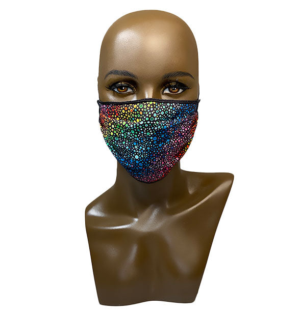 metallic Rainbow Dots Face Mask