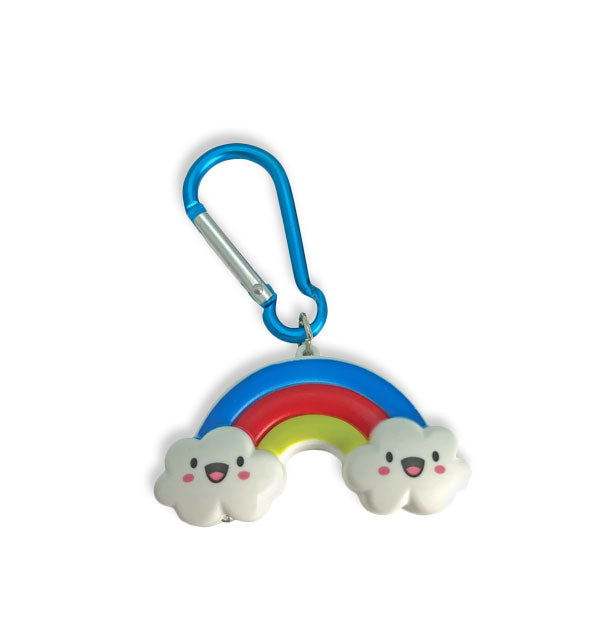 Blue key ring with attached tri-color rainbow and two happy clouds flashlight.