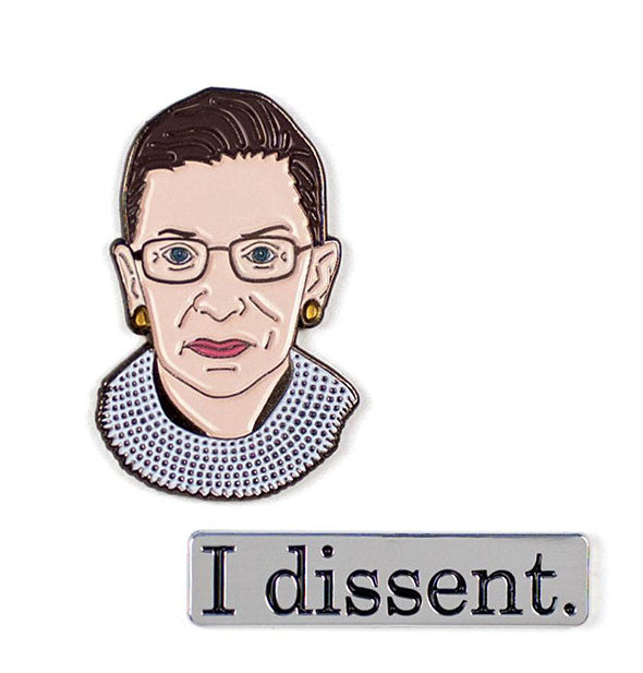 Close up picture of 2 pins Ruth Bader Ginsburg Enamel Pins and I dissent