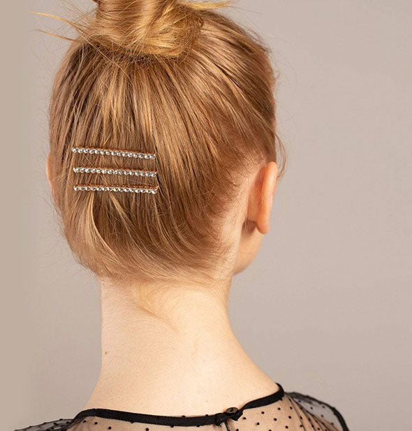 3 Rhinestone Bobby Pins in Rose Gold