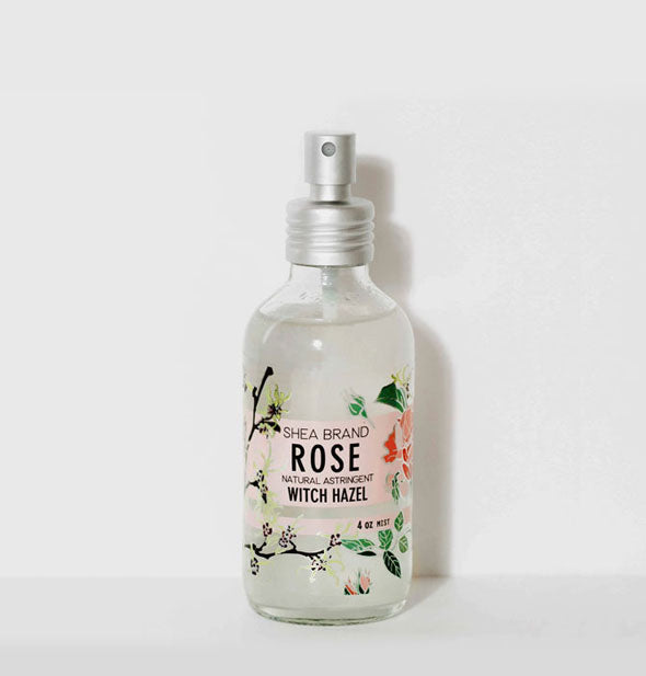 A bottle of Shea Brand Rose Witch Hazel Natural Astringent for face, hair, and body.