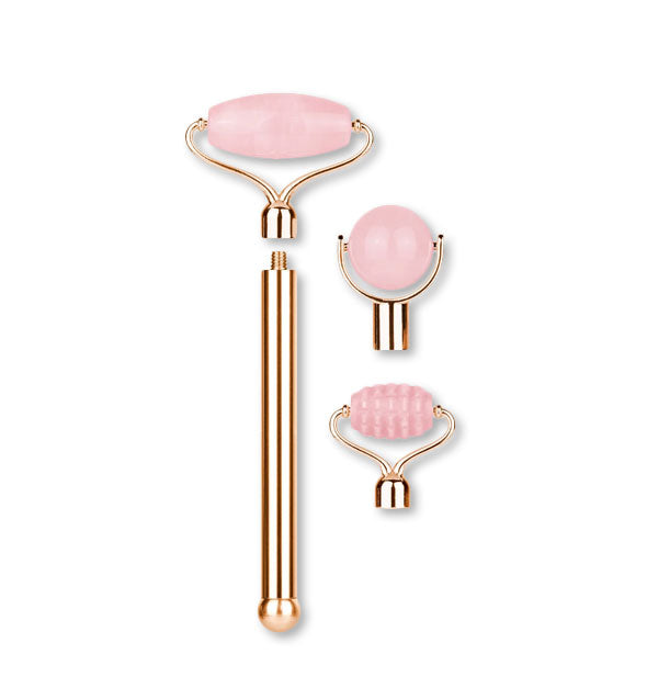 Rose quartz facial roller with gold hardware and head attachment options shown