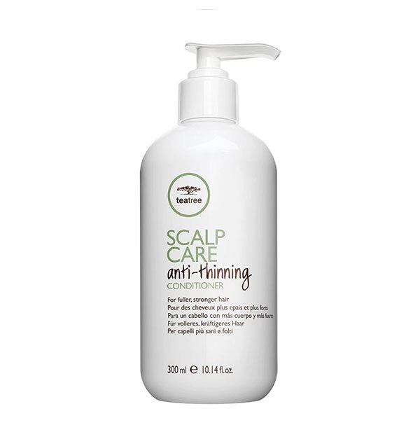 10.14 ounce bottle of Paul Mitchell Tea Tree Scalp Care Anti-Thinning Conditioner with pump nozzle