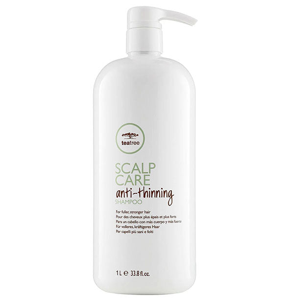 33.8 ounce bottle of Paul Mitchell Tea Tree Scalp Care Anti-Thinning Shampoo