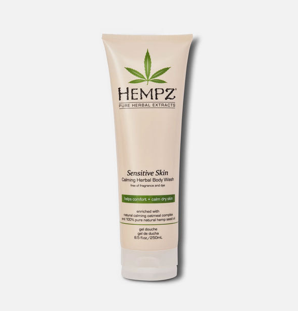 White 17-ounce bottle of Hempz Sensitive Skin Herbal Body Moisturizer with green accents and pump nozzle.