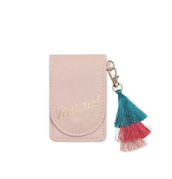 Pink Material Girl pouch with metallic gold stamping and multicolor tassel