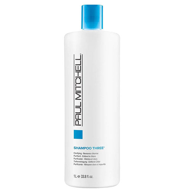 A One Liter Bottle of Paul Mitchell Clarifying Shampoo Three to remove Chlorine