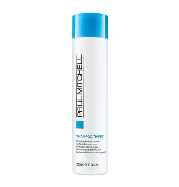A bottle of Paul Mitchell Clarifying Shampoo Three 10.14 fl OZ to remove Chlorine