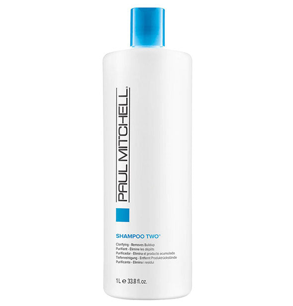 A One Liter Bottle of Paul Mitchell Clarifying Shampoo Two to remove buildup