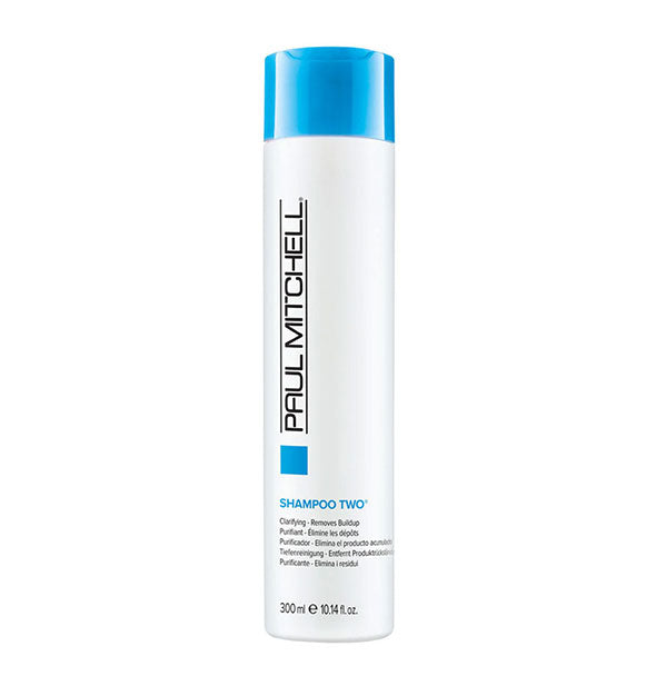 A bottle of Paul Mitchell Clarifying Shampoo Two 10.14 fl OZ  to remove buildup