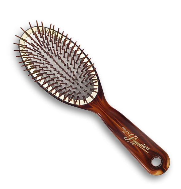 Tortoise hair brush with oval cushioned paddle head