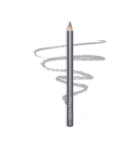 SILVER Eyeliner Pencil with sketch example of texture and color