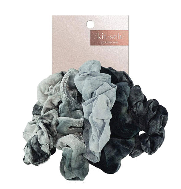 5 Piece Tie Dye Scrunchies grey hues