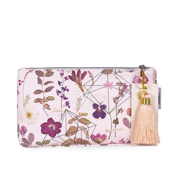 Purple floral pouch with peach colored tassel