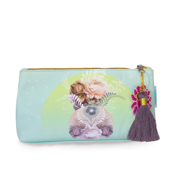Small aqua pouch with floral artwork and purple tassel