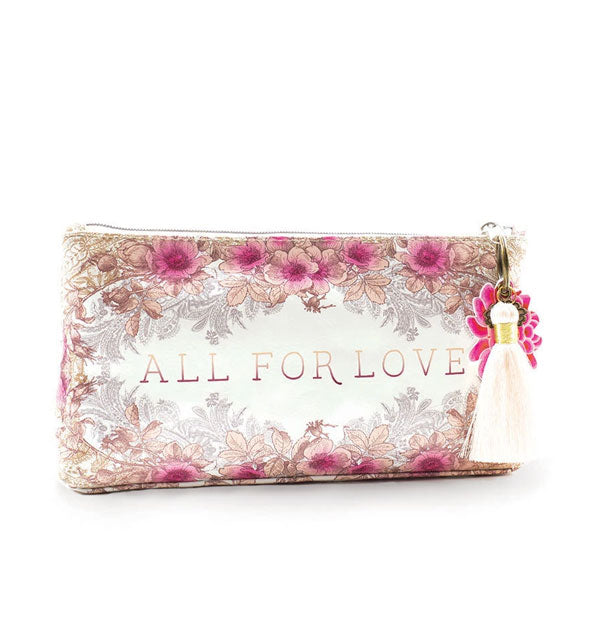Small pink floral All for Love Tassel Pouch