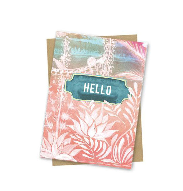 Pastel pink and blue Hello greeting card with white brushstroke details