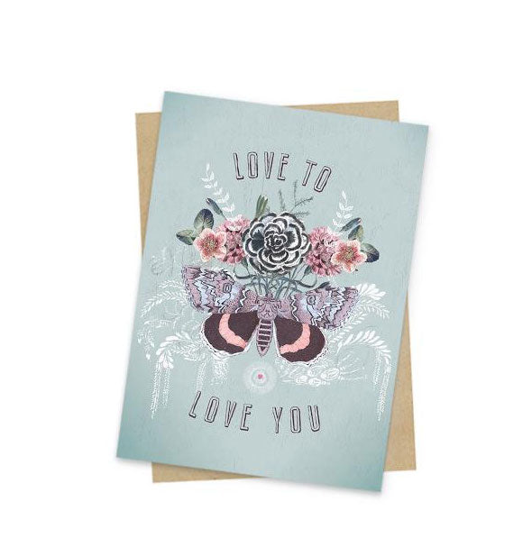 Love to Love You card with floral butterfly design