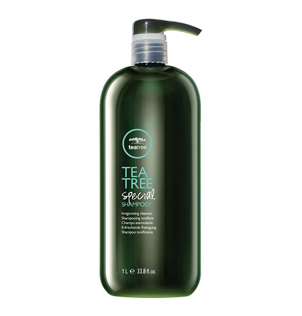 33.8 ounce bottle of Paul Mitchell Tea Tree Special Shampoo with pump nozzle