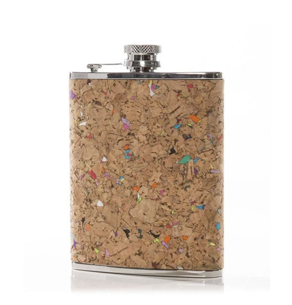 A cork-wrapped stainless steel flask with rainbow flecks throughout.