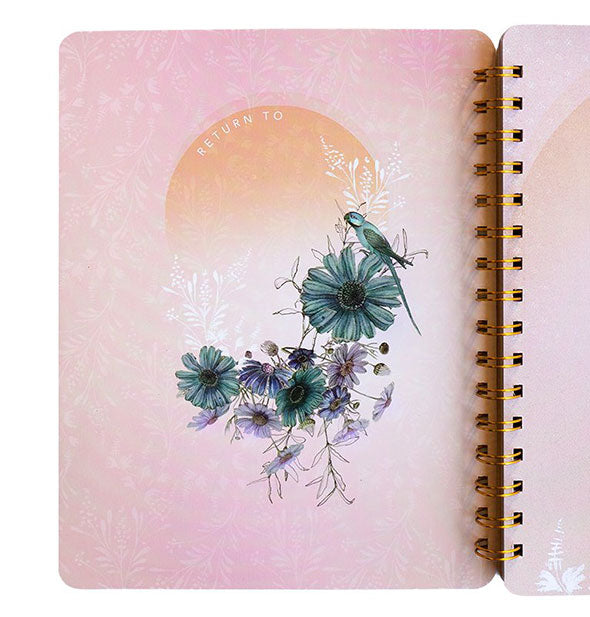 Notebook page spread with floral artwork