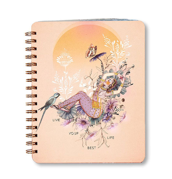 Orange notebook with Asian-inspired goddess figure and floral, bird, and butterfly accents