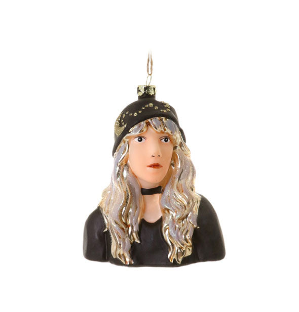 Painted Stevie Nicks bust tree ornament with string