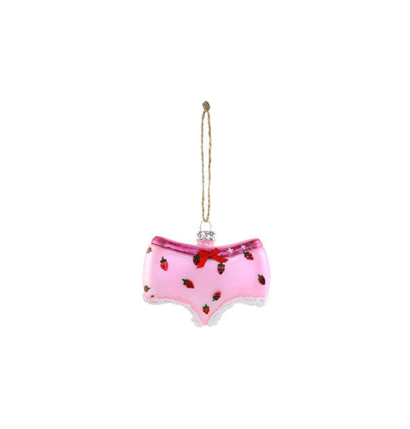 Pink strawberry underwear glass ornament with string