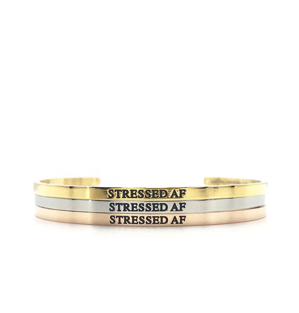 metal stressed af bangles in gold silver and rose gold