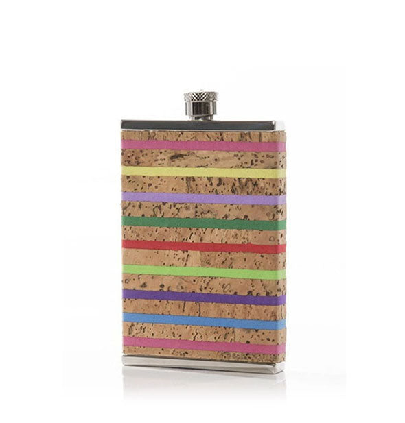 A cork-wrapped stainless steel flask with rainbow stripe design.