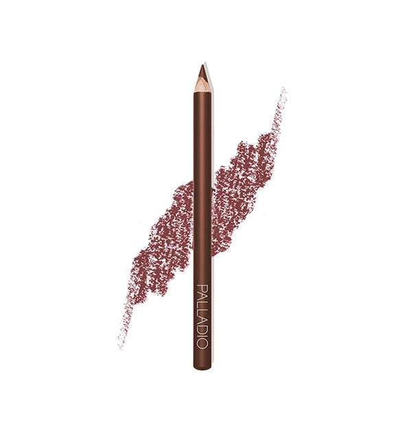 Palladio Lip Liner Pencil in the shade Suede with pencil stroke swatch sample behind.
