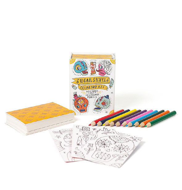 Contents of the Sugar Skulls Coloring Kit
