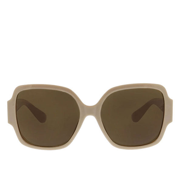 Front view of Peepers oversized Carmen Sunglasses in Taupe.