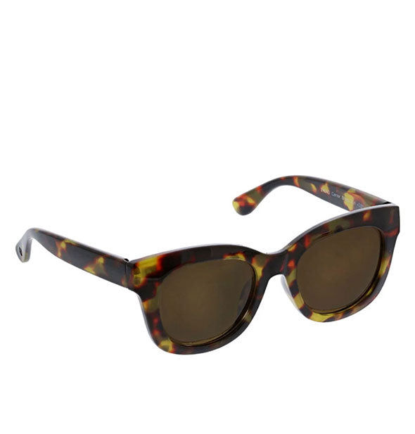 Angled view of Peepers Center Stage Reader Sunglasses in Tortoise.