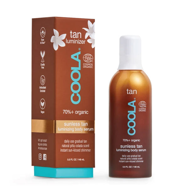 Bottle and box of COOLA Sunless Tan Luminizing Body Serum