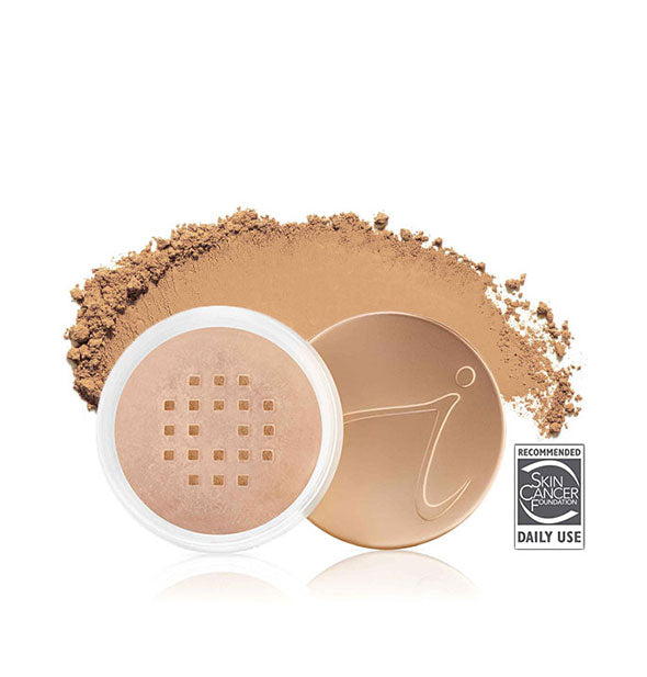 Open container of Jane Iredale Amazing Base Loose Mineral Powder with product sample behind in the shade Suntan.