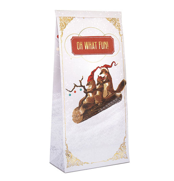 "Papaya Art - Oh What Fun! Holiday Christmas Sweet Sack with Gold Foil Embellishments Measures 9.75""H x 4.25""W x 2.5""D"