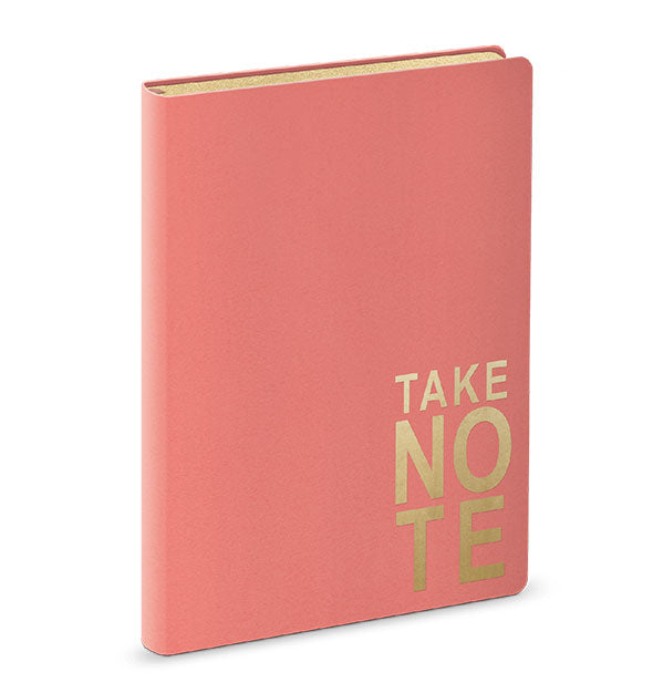 pink notebook with gold text take note