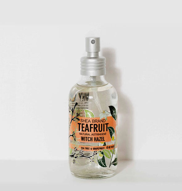 A bottle of Shea Brand Teafruit Witch Hazel Natural Astringent for face, hair, and body.