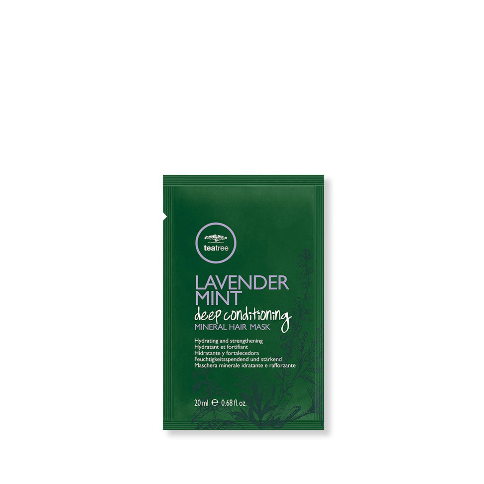Single use packet of Paul Mitchell Tea Tree Lavender Mint Deep Conditioning Mineral Hair Mask