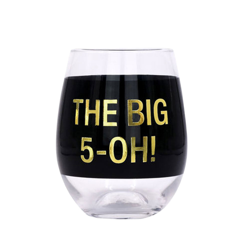 Black with Gold The Big 5 O Stemless Wine Glass