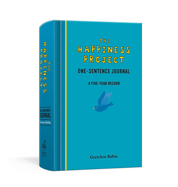 Cover of The Happiness Project One-Sentence Journal with yellow accents and blue bird graphic