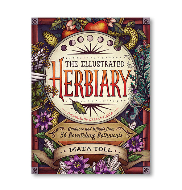 Colorful cover of The Illustrated Herbiary: Guidance and Rituals from 36 Bewitching Botanicals by Maia Toll