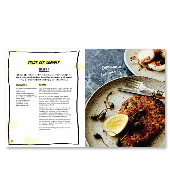 Inside page spread of The I'm So Hungover Cookbook with a photograph and recipe for Post-Lit-Schnit