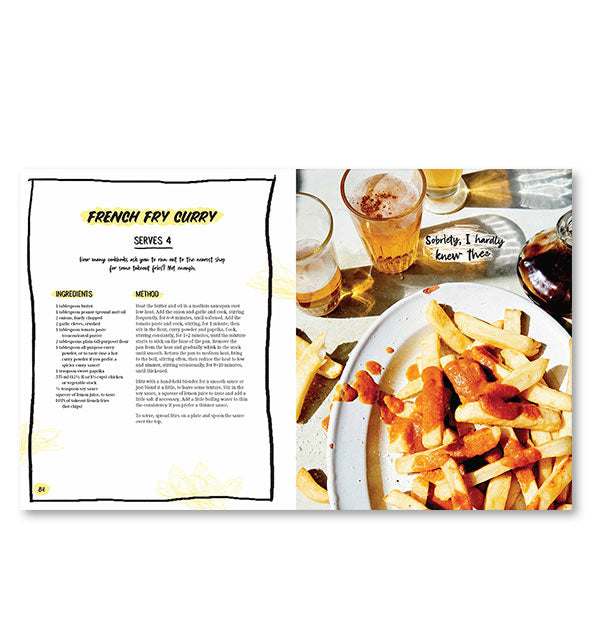 Inside page spread of The I'm So Hungover Cookbook with a photograph and recipe for French Fry Curry