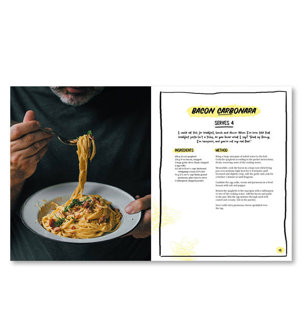 Inside page spread of The I'm So Hungover Cookbook with a photograph and recipe for Bacon Carbonara